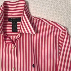 Hot pink striped button down